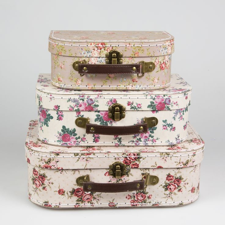 Vintage Rose Suitcase-set of 3. With 3 different pretty rose floral designs, these sweet little suitcases fit inside one another.  They bring a romantic and vintage touch on a dressing table or in a child room and are perfect for wedding decoration. Buy online here http://www.smallthings.gr/shop/bath-room/vintage-rose-suitcase-set-of-3/