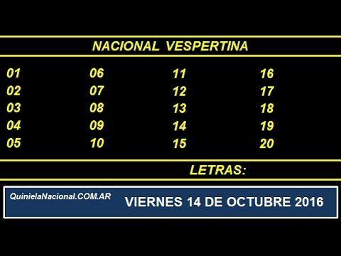 Quiniela - El Video oficial de la Quiniela Vespertina Nacional del día Viernes 14 de Octubre de 2016. Info: www.quinielanacional.com.ar