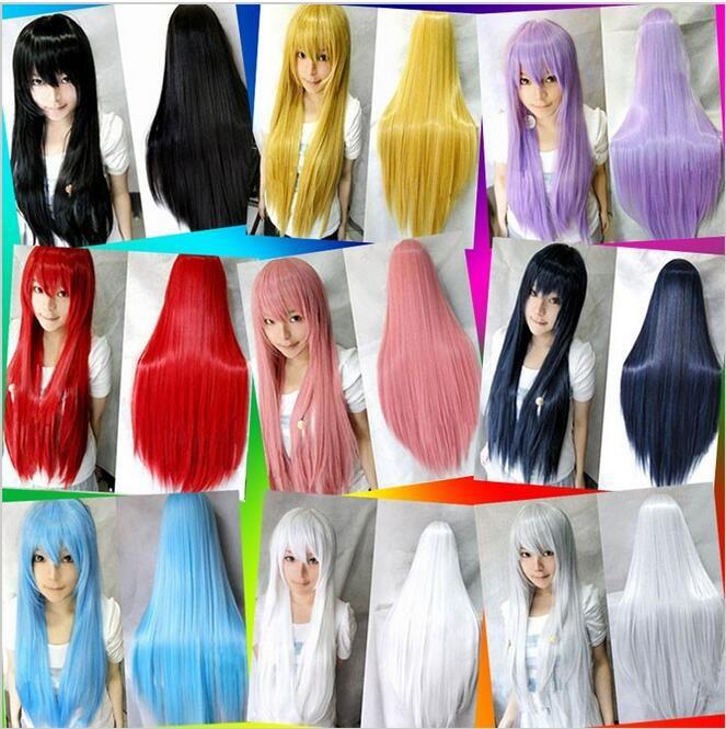 16 Farben Frauen kunsthaar perücken hitzebeständige Rosa Schwarz Blau Rot Gelb weiß Blond Lila gerade cosplay perücken 80 cm