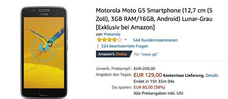 #Motorola Moto G5 #Smartphone für 129,00€ (statt 144,00€) https://www.billigerfinder.de/handys-und-smartphones/1517383890010-motorola-moto-g5-smartphone