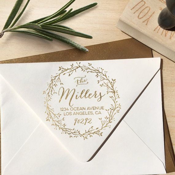 Holiday Return Address Stamp with Wreath circular by Designkandy
