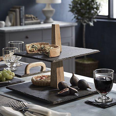 buy john lewis square slate cake stand 2 tier online at. Black Bedroom Furniture Sets. Home Design Ideas