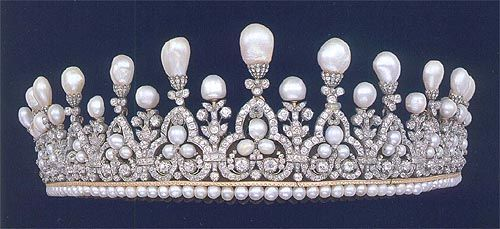 Pearl and diamond tiara made c1817 for Princess Maria Anna of Saxony on the occasion of her marriage to Leopoldo II, Grand Duke of Tuscany at Castle Pillnitz near Dresden. The chased gold and pearl base supporting a graduated row of trefoil motifs set with pear-and cushion-shaped diamonds, each decorated at the top with a large pear-shaped pearl capped with rose diamonds and alternating with similarly set floral motif.