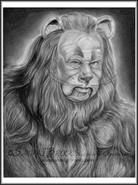 Original Artwork  Bert Lahr Cowardly Lion Wizard of Oz Drawing Charcoal Graphite Signed on Etsy, $99.00
