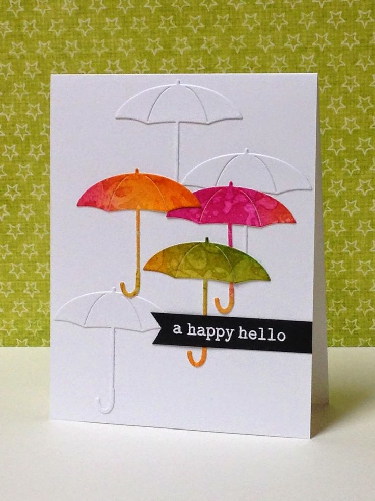 three umbrellas: The Card Concept 8--Umbrella. . . another pretty card by Donna M. . .