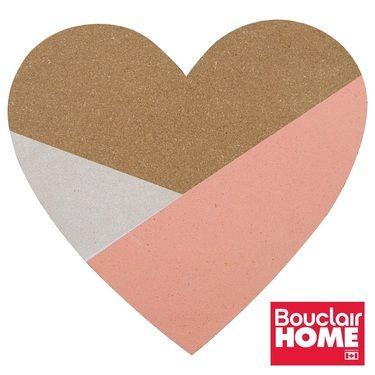 Bouclair Sweet Origami Heart Cork Board Pink