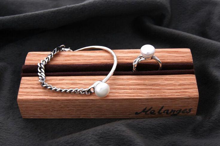 pearl silver chain bracelet