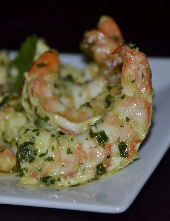 Green Lightning Shrimp! The marinade: Cilantro, jalapeños, scallions, garlic, salt, pepper, cumin, and olive oil.