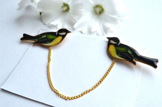 bird jewelry , bird brooch , titmouse , shirt accessory , nature jewelry , hipster gift , collar clip , collar brooch , collar tips ,by Renattorize on Etsy
