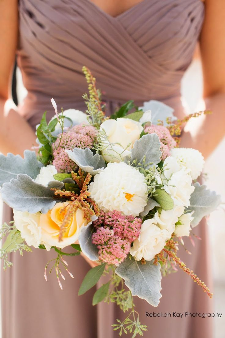 les fleurs : fall wedding : boston harbor hotel : latte bridesmaid dresses : romantic bouquets : sedum, dusty miller, dahlia, andromedia, roses / photo: Rebekah Kay