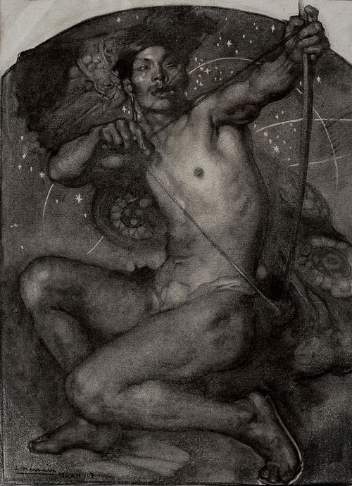 El Guerrero, c.1917 by Saturnino Herrán (Mexican 1887-1918). Charcoal on paper, 50 x 39 cm.