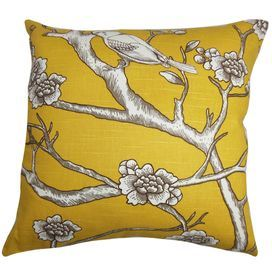 """Bring a pop of chic style to your daybed or settee with this charming cotton pillow, featuring a perching bird motif and down fill. Made in the USA.   Product: PillowConstruction Material: Cotton cover and down fillColor: Yellow, brown, and whiteFeatures:  Made in the USAInsert includedDimensions: 18"""" x 18"""""""