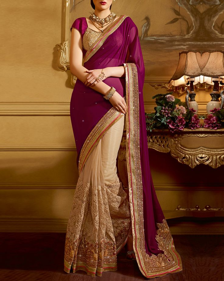 Impress Everyone With Your #Ethnic Look By Wearing These Wedding Special #Sarees From Our Online Store: http://www.simaayafashions.com/wedding-saree-in-dark-magenta-ssni1808.html  #Wedding #Love #GetNoticed