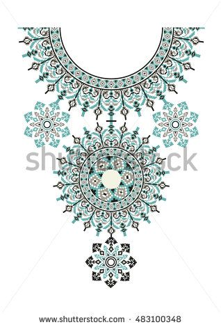 Vector Ethnic necklace Embroidery for fashion women. Pixel tribal pattern for…