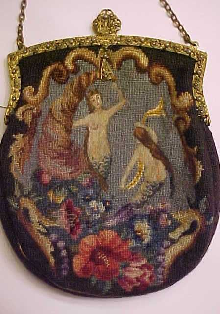 Antique Embroidered Purse Mermaid Theme Intricate Tight Weave.  Holy moley!