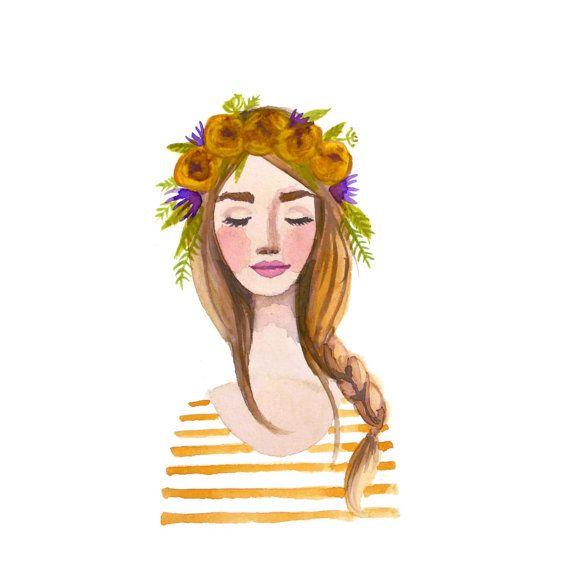 Gele kroon bloemenmeisje afdrukken van aquarel. Vlecht, strepen bloemen, bloemen. Mode illustratie dame, schoonheid, bloemen, portret