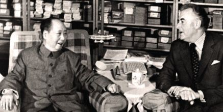 Chairman Mao Zedong meeting with the Hon. Gough Whitlam QC, Prime Minister of Australia during the h