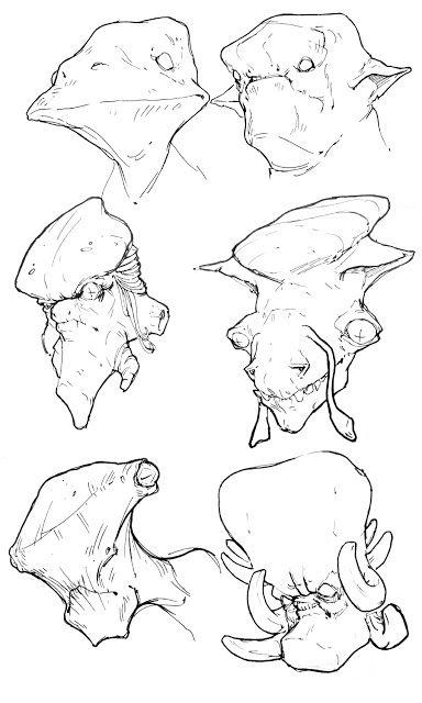 Alien heads drawings
