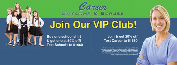 Career Uniforms SMS Text Club  High-Quality Medical Uniforms Available at the Best Prices from Scranton's Premier Medical Uniforms Store, Career Uniforms and Scrubs. (570) 343-0651  http://careeruniformsandscrubs.com