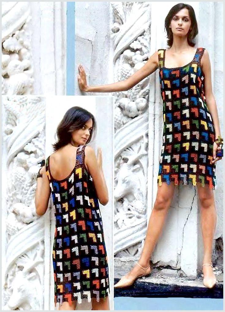 Платье из черных филейных квадратов. Филейное вязание. - Схемы вязания платья - Схемы для вязания - Уроки вязания крючком - Вязание крючком, схемы для вязания крючком
