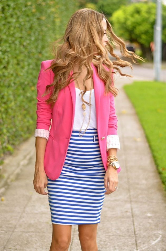 Love this striped pencil skirt, pink blazer, white shirt, & gold jewelry combo