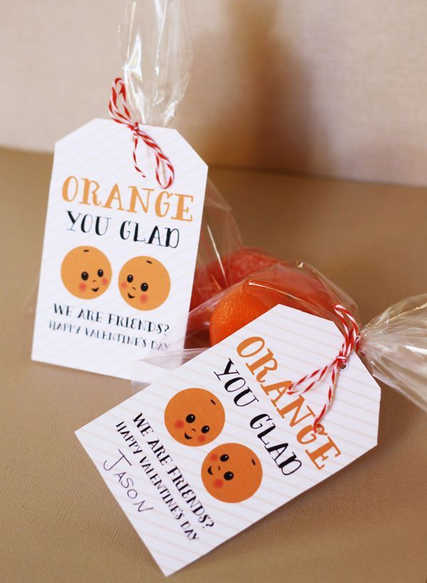 Orange you glad we are friends? ~ cute Valentine's Day idea, Valentine kids, kids at heart