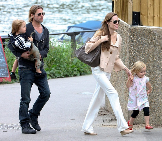 Looks like an everyday family. :) Brad Pitt and Angelina Jolie with the twins, Knox and Viv