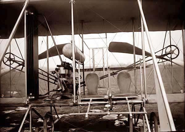 """This is a very artistic photograph of the Wright Brothers aircraft the """"Wright Flyer"""". The photograph was take in 1911, and shows the first aircraft to fly. A little known fact is that the Wright Brothers, in addition to being pioneering aviators, were also avid amature photographers. Because of this, there is a large source of photographs documenting their early aviation efforts."""