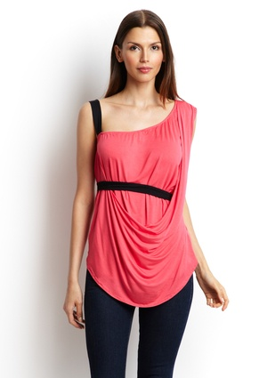 """CYRUS Asymmetric Draped Top, rougue red/black, Sleeveless slub knit top  Elasticized, asymmetrical neckline  Contrast tone right shoulder straps  Draped overlay on front with contrast tone band across waist  Material: 95% Viscose 5% Spandex  Approx. measurements (size S): shoulder to hem 24""""  Care: Machine wash cold  Origin: Imported  Fit: This brand runs true to size. To ensure the best fit, we suggest consulting the size chart."""