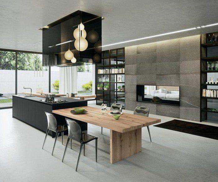 La cuisine quip e avec lot central 66 id es en photos for Cuisine equipee