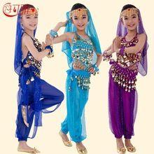 Nuevos Niños Hechos A Mano de Danza Del Vientre Trajes de Danza Del Vientre Niños Chicas Bollywood Indio Rendimiento Paño Conjunto 6 Colores(China (Mainland))