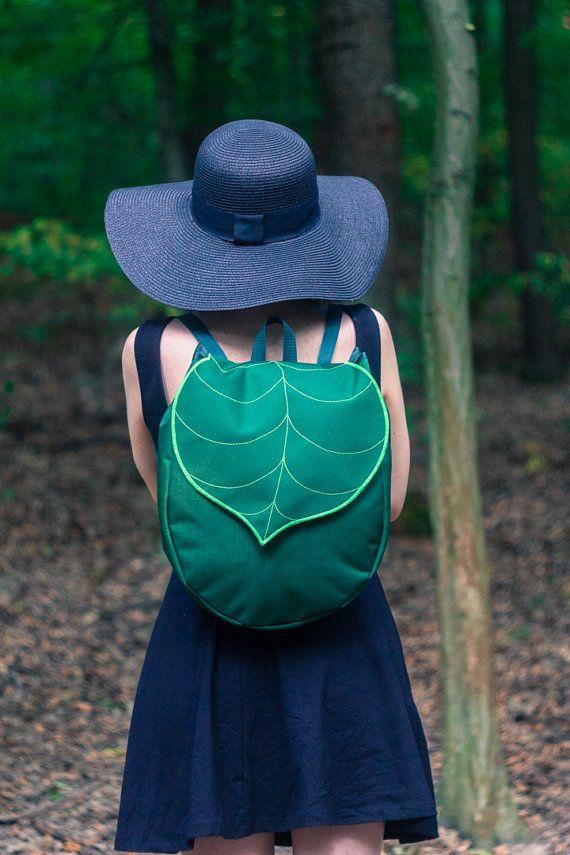 Darkm Green Leaf Boho Backpack, Women's Rucksack,Waterproof Festival Backpack, Hipster Backpack, Drowstring Backpack, School Backpack,