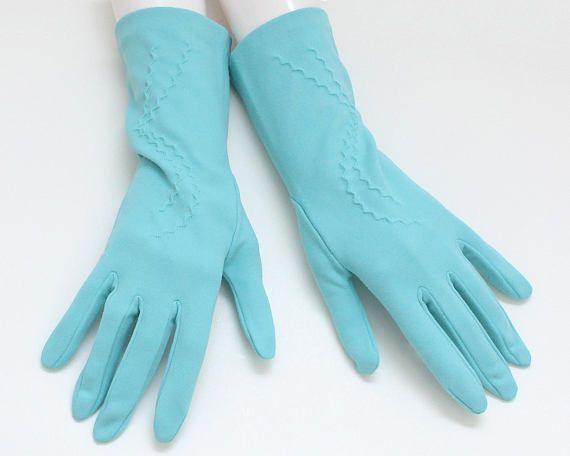 60s Robins Egg Blue Gloves  Deadstock Size 7 Vintage 1960s