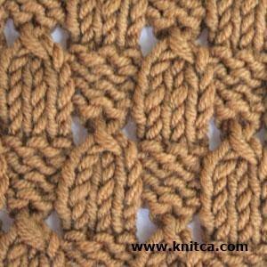 Right side of knitting stitch pattern – Lace 10 : www.knitca.com