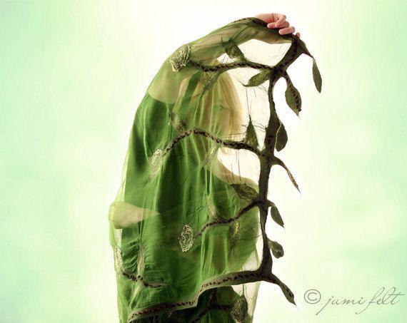 SPRING SALE -30% - Green leaves nuno felted shawl - Spring Silk scarf - Handmade silk and wool