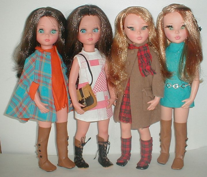 "furga dolls sheila | 16"" fashion dolls made by the Furga doll company 1965 to around 1970. I have the outfit Sheila is wearing second from right--the ""camel hair"" coat with the plaid dress. Don't know if I still have the spats??"