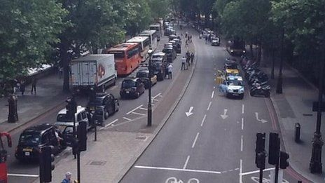 Taxi strike- Taxis started to move away from 15:00 BST