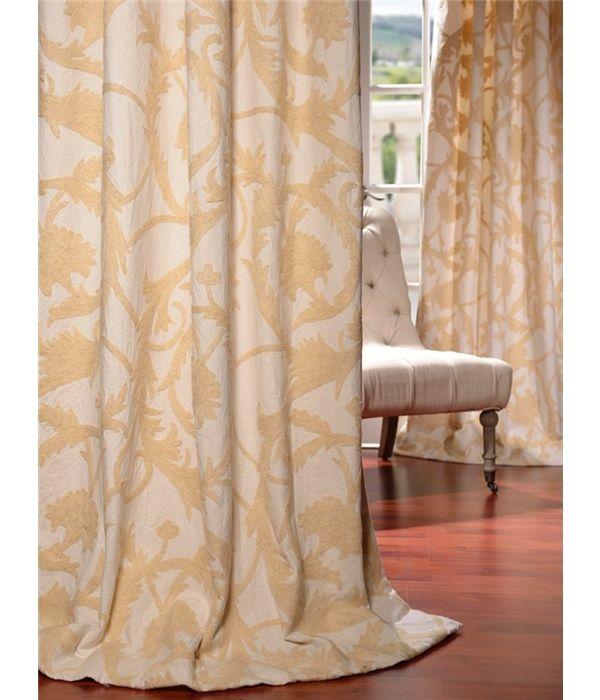 Naomi Embroidered Cotton Crewel Curtain & Drapes
