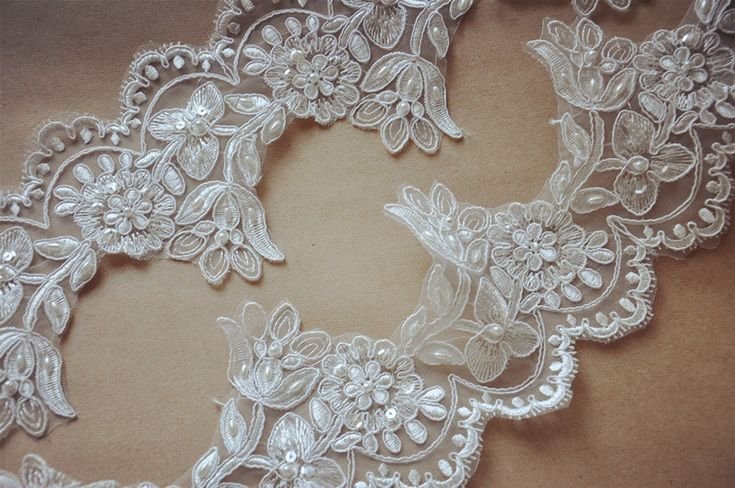ivory Bridal Lace trim beaded Alencon Lace Trim wedding by LaceFun, $5.80
