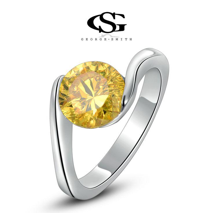 Ring In De Vorm Van Een Hart Met Gele Steen 2