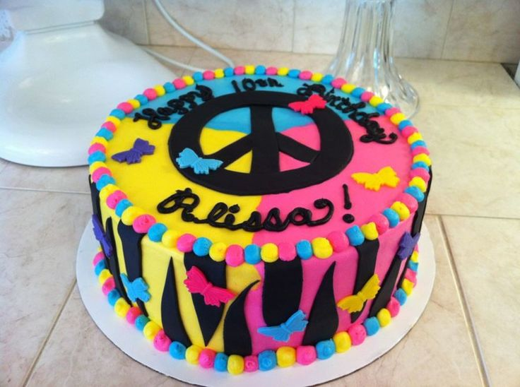 Cake Decorating Ideas Peace Sign : 17 Best images about Peace Cakes on Pinterest Neon ...