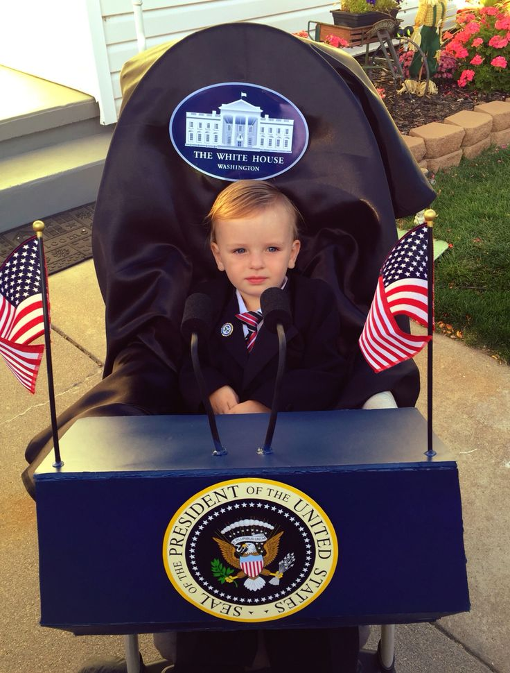 president costume foam board podium attached to stroller with zip ties spray painted curlers baby halloweenhalloween - Baby Halloween Coatumes