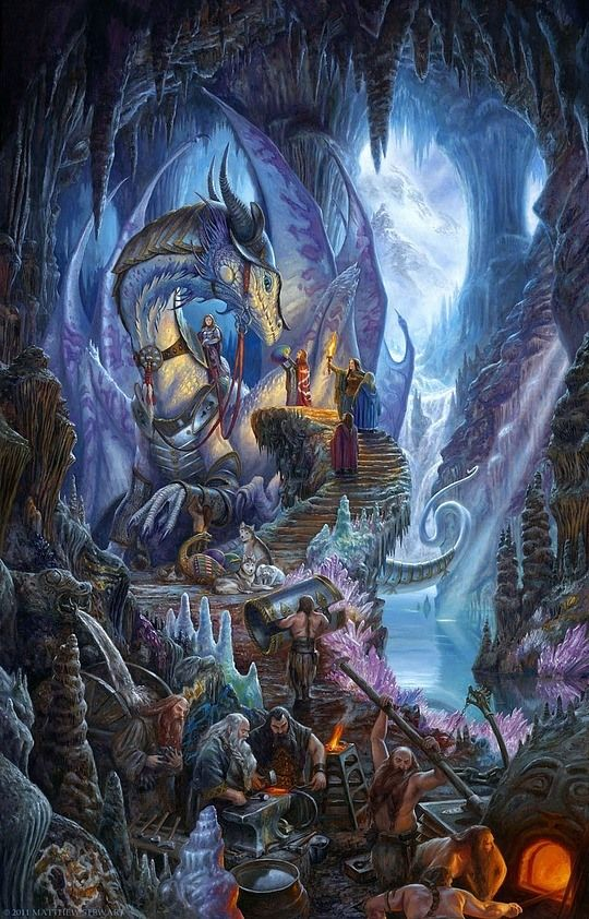 Awesome Concept Art by Matthew�Stewart  Beautiful fantasy illustration; I like the dwarves and dragon working together (it seems that way anyway!)