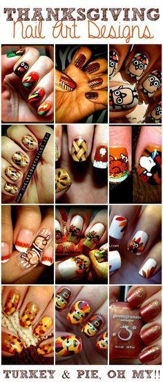 Thanksgiving Nail Art Designs! Cute nail ideas for Thanksgiving.: