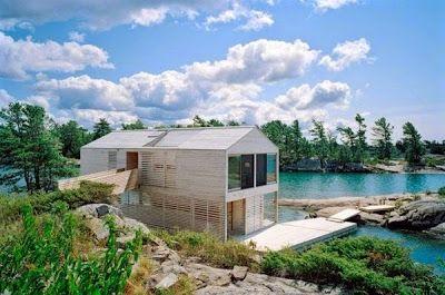 Casa Pré-Fabricada Flutuante, no Lago Huron / Prefab floats on Lake Huron