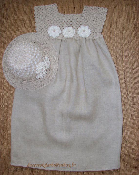 Linen crochet spring / summer dress and hat for the por Dachuks