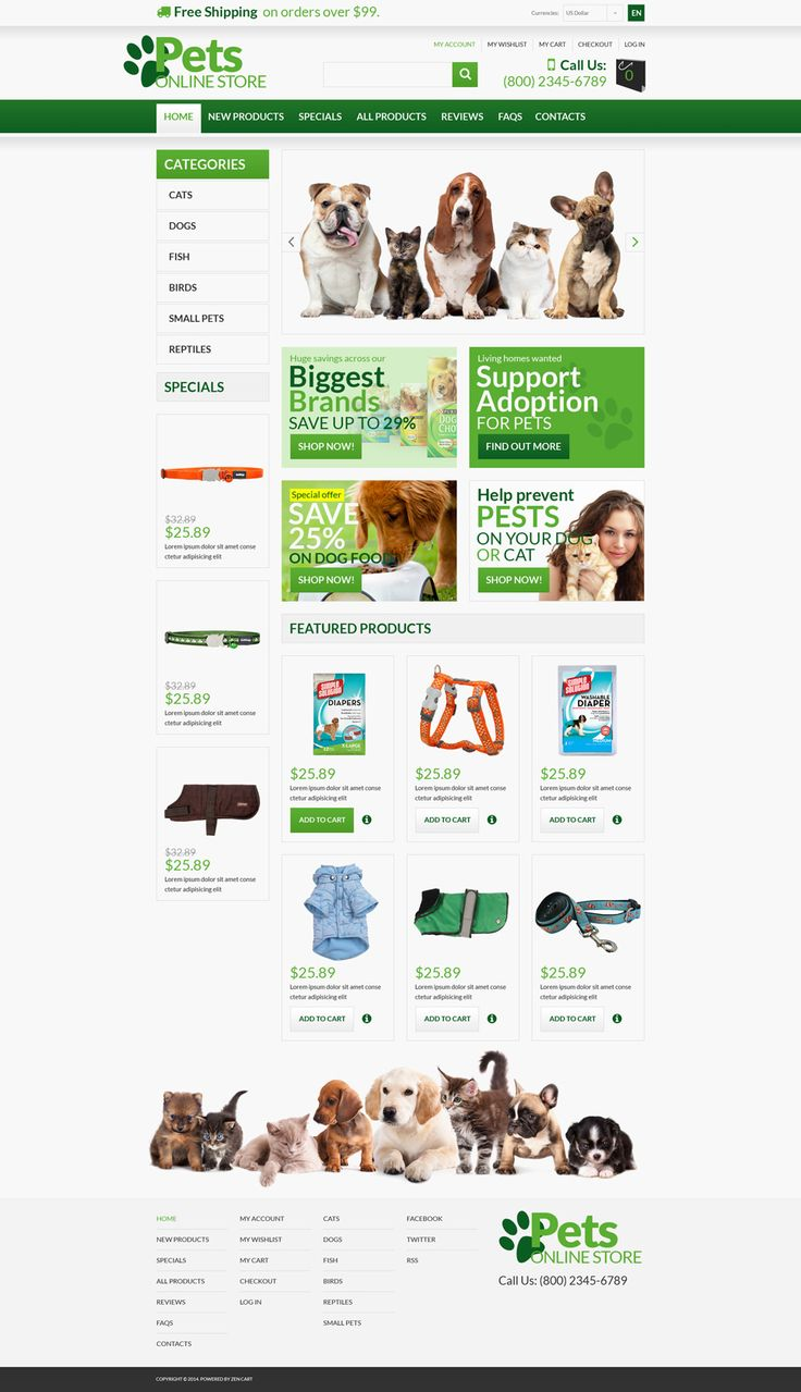 Pet Shop ZenCart Template #53363