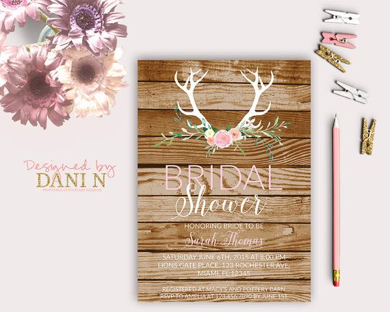antlers Bridal Shower Invitation, rustic wood Bridal Shower Invite, floral woodland, Bridal Shower Invitation, modern shabby printable diy