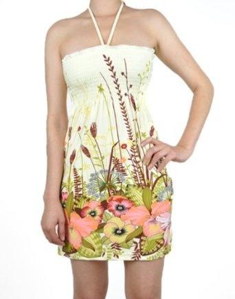 NawtyFox Sexy Tropical Halter Floral Summer Boho Mini Dress S XL: Clothing
