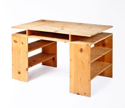 Donald Judd: Prototype Desk, 1978. No offense to the great DJ, but this could be made easily enough + larger flat files on one side for a longer, even more functional studio table...